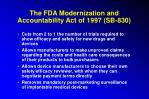 the fda modernization and accountability act of 1997 sb 830
