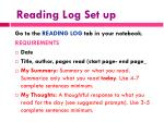 reading log set up