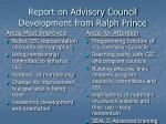 report on advisory council development from ralph prince