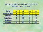 brotes eta seg n atencion de salud recibida r m 1997 2000