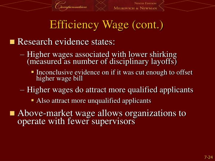 Efficiency Wage (cont.)
