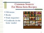 common sources for menu item recipes