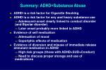 summary adhd substance abuse