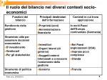 il ruolo del bilancio nei diversi contesti socio economici