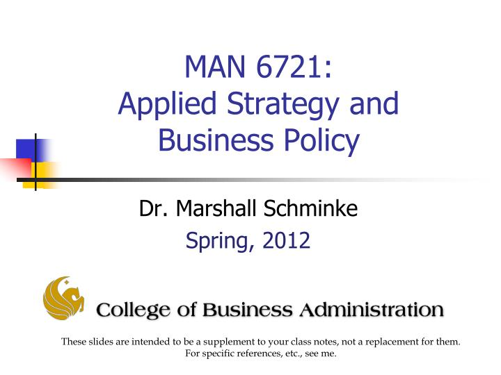 man 6721 applied strategy and business policy n.