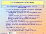les differentes situations