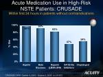 acute medication use in high risk nste patients crusade