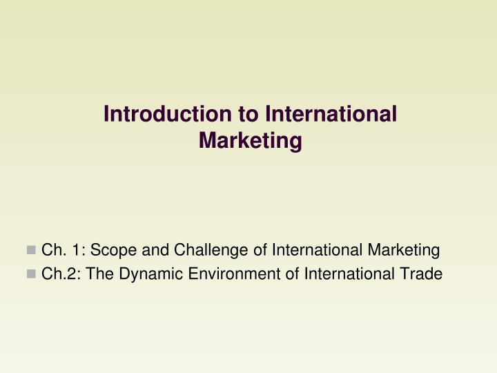 introduction to international marketing n.