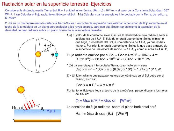 Radiación solar en la superficie terrestre. Ejercicios