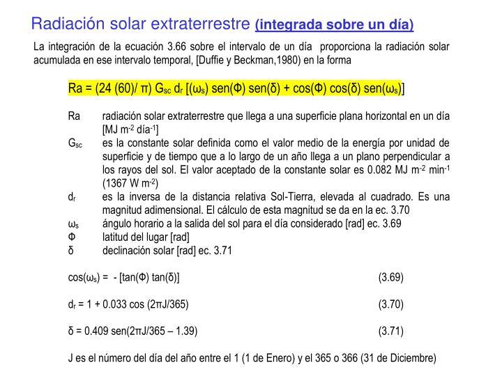 Radiación solar extraterrestre