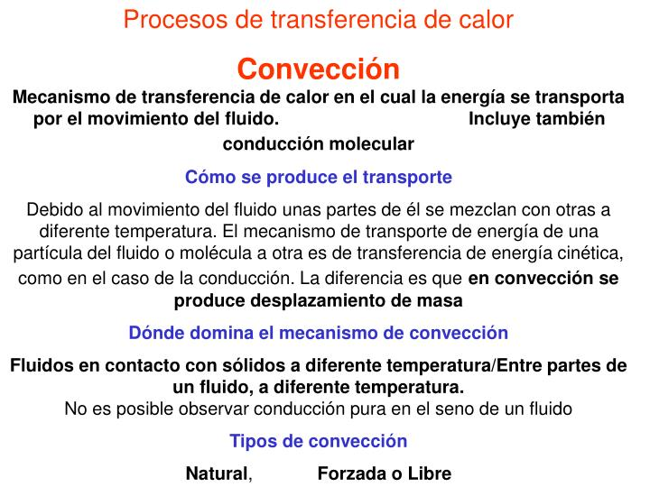 Procesos de transferencia de calor