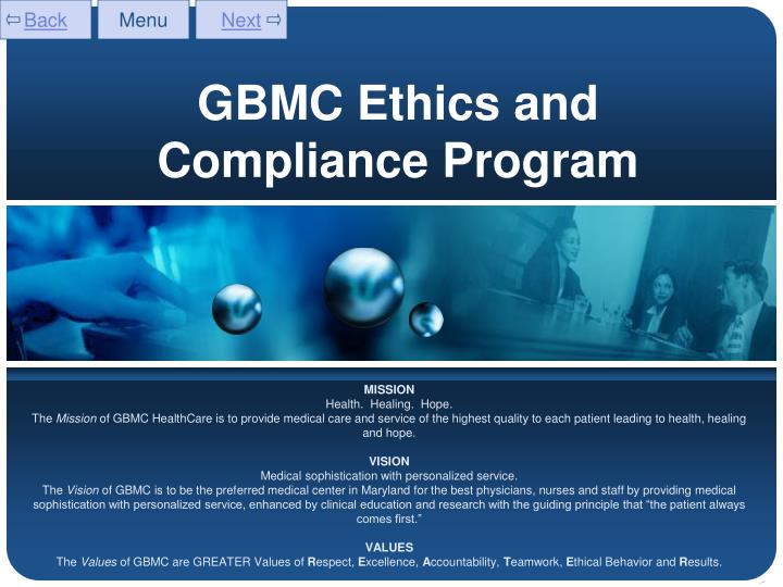 ethics program powerpoint presentation Ethics and compliance program is the board and senior management, and the sense of responsibility they share to protect the shareholders' reputational and financial assets.