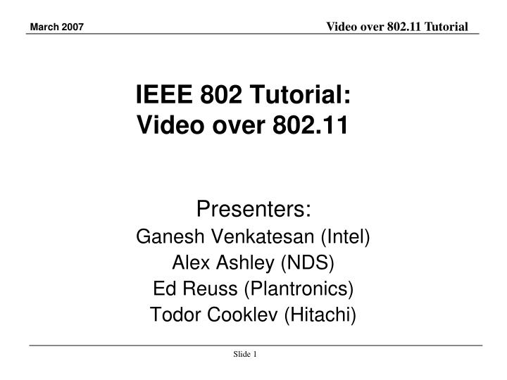ieee 802 tutorial video over 802 11 n.
