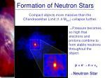 formation of neutron stars