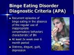 binge eating disorder diagnostic criteria apa