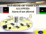 database of vehicles allowed alarm if not allowed