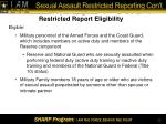 sexual assault restricted reporting con t