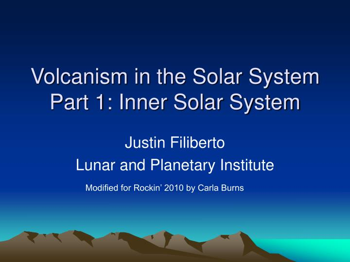 volcanism in the solar system part 1 inner solar system n.