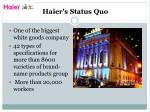 haier s status quo