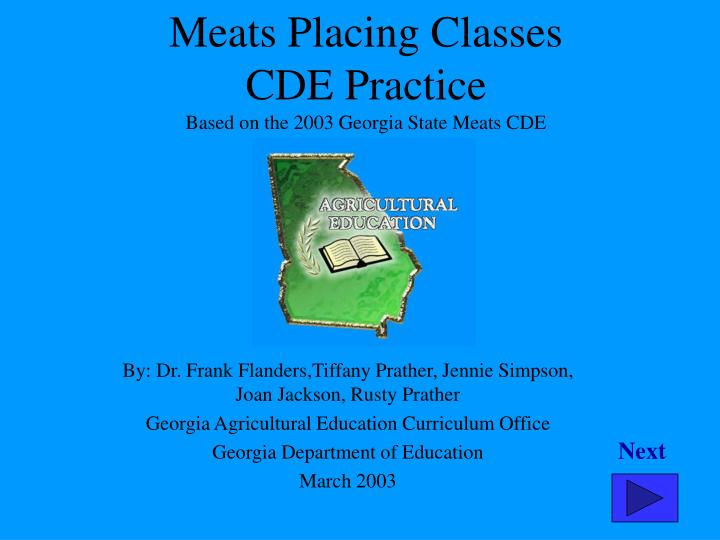 meats placing classes cde practice based on the 2003 georgia state meats cde n.