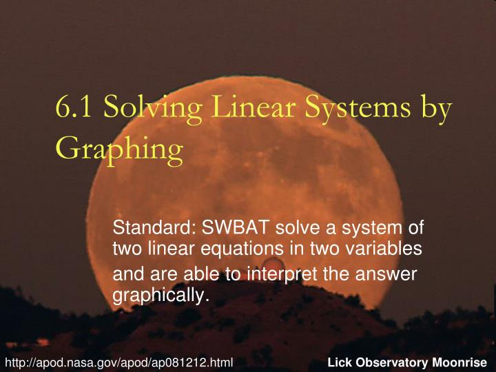 6 1 solving linear systems by graphing n.