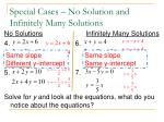 special cases no solution and infinitely many solutions