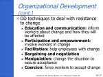 organizational development cont