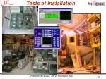 tests et installation