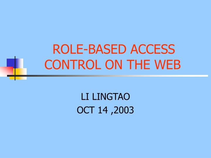 role based access control on the web n.
