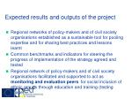 expected results and outputs of the project