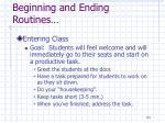 beginning and ending routines