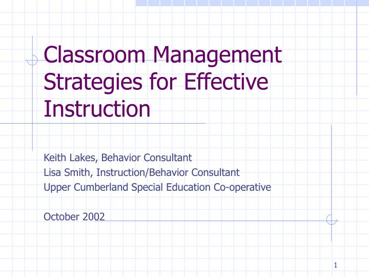 classroom management strategies for effective instruction n.