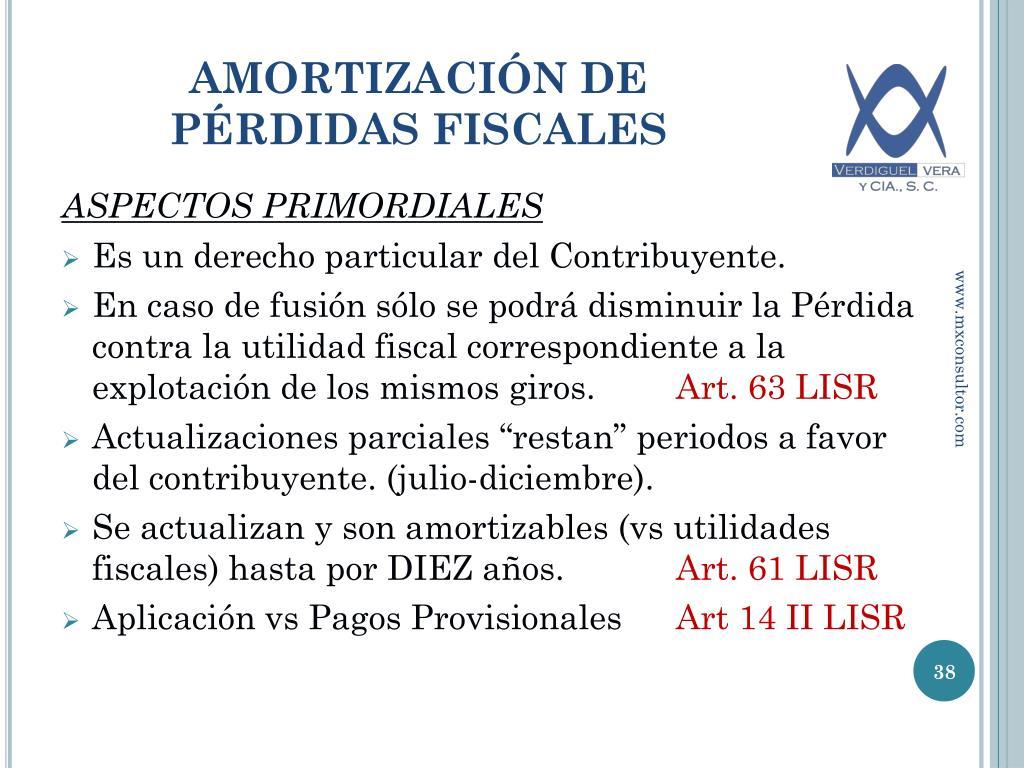 amortizacion perdidas fiscales linear unit pagos provisionales