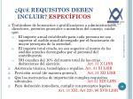 qu requisitos deben incluir espec ficos1