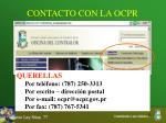 contacto con la ocpr1