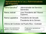 aplicabilidad de la ley y administradores del programa