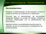 cont informe especial recomendaciones