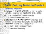 part d first lady behind the president