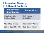 information security in different contexts