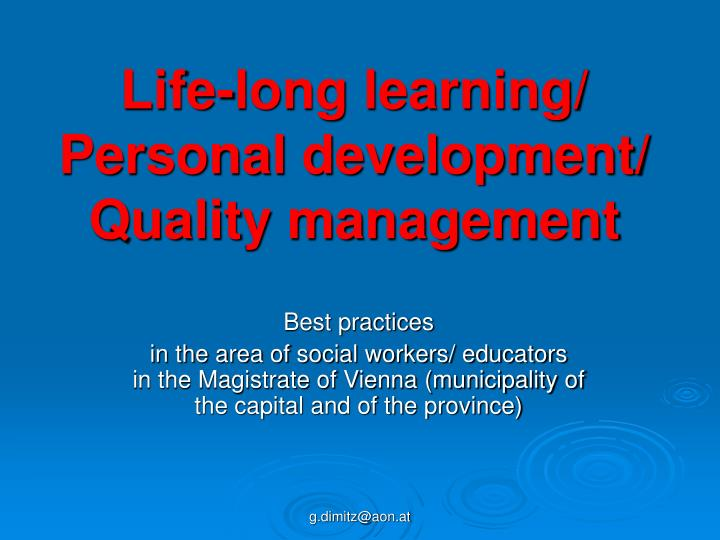 life long learning personal development quality management n.