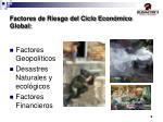 factores de riesgo del ciclo econ mico global