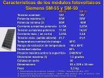 caracter sticas de los m dulos fotovoltaicos siemens sm 55 y sm 50