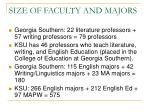 size of faculty and majors