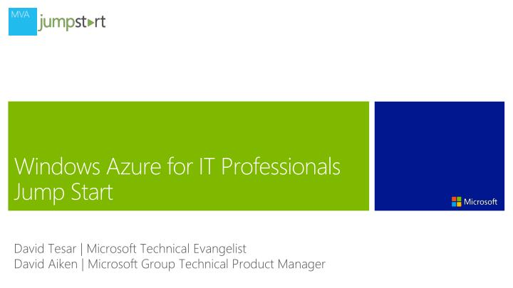 windows azure for it professionals jump start n.