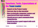 functions tasks expectations of the team leader