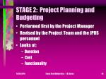stage 2 project planning and budgeting