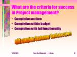 what are the criteria for success in project management