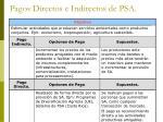 pagos directos e indirectos de psa