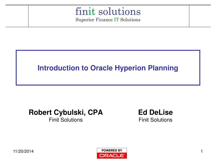introduction to oracle hyperion planning n.