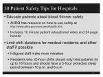 10 patient safety tips for hospitals2